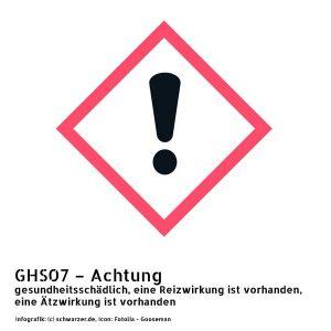 Infografik GHS07 - Achtung: gesundheitsschädlich, eine Reizwirkung ist vorhanden, eine Ätzwirkung ist vorhanden