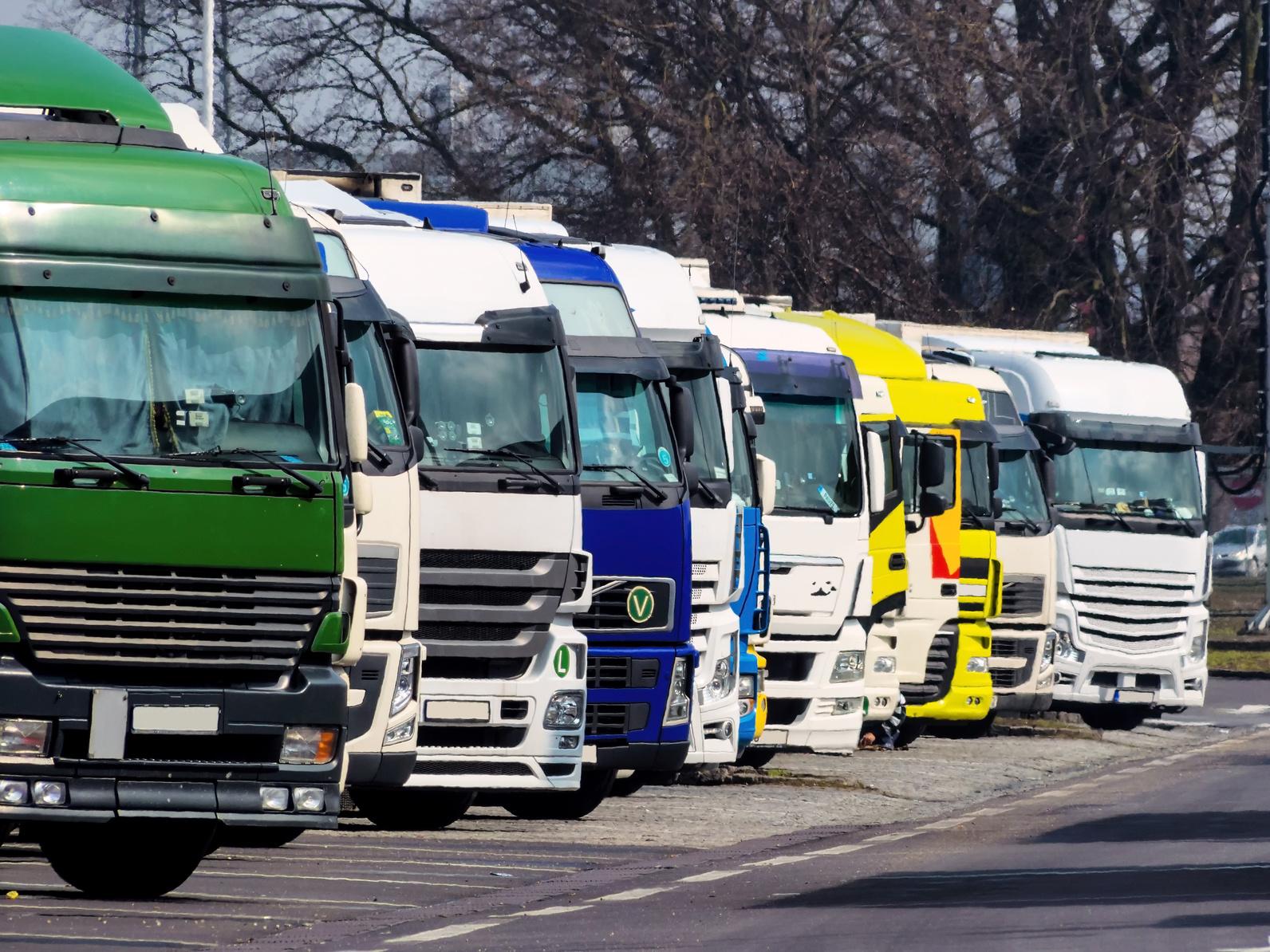 Lenk- und Ruhezeiten für LKW-Fahrer im Blick: Lkws auf einem Rastplatz. (#01)