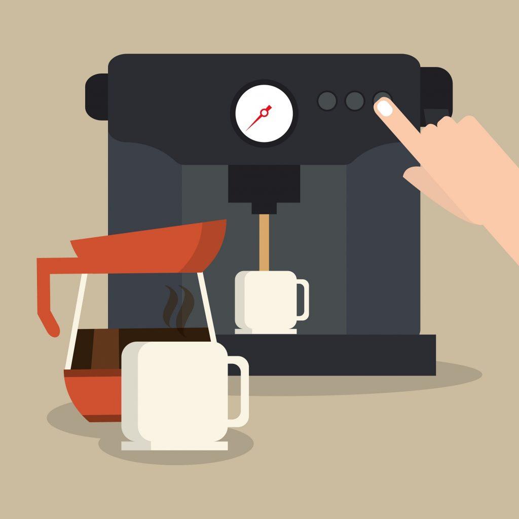 Der Traum eines Jeden Kaffetrinkers. Frisch gemalen, für jede Tasse aufs neue