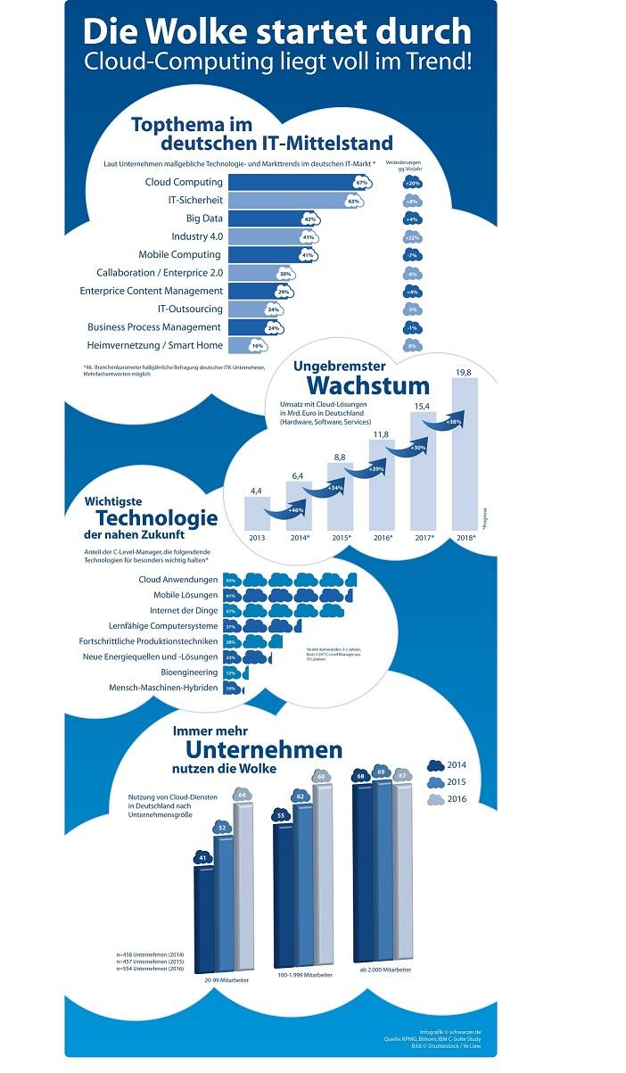 Infografik Cloud Computing: Eine Wolke startet durch!