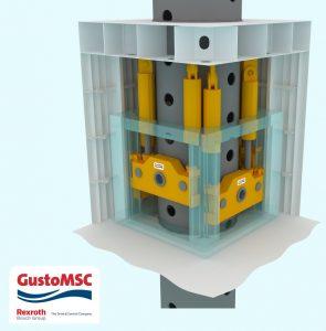 Das Continuous-Jacking-System von Bosch-Rexroth arbeitet mit 48 synchronisierten Hydraulikzylindern.