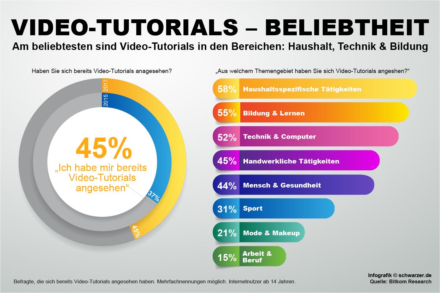 Infografik: Wie viele User schauen sich Video-Turorials im Internet an? Was sind die beliebtesten Video-Turorials Bereiche, die von Usern angesehen werden?