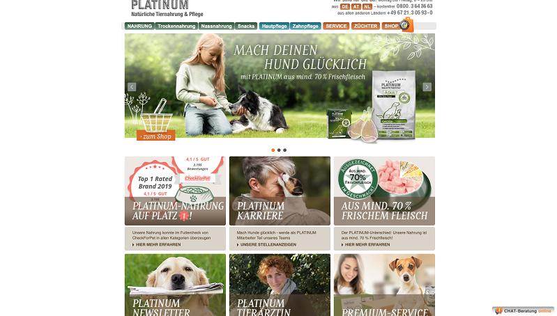 PLATINUM Futter und Pflege auf natürlicher Basis.
