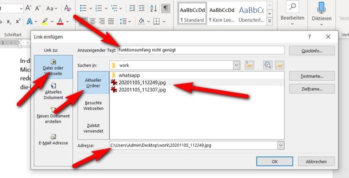 """Einen Hyperlink erstellen, der zu einer Datei auf Ihrem PC verweist, ist einfach. Im Dialog """"Link einfügen"""" wählen Sie wie im Windows Explorer eine Datei aus. Die """"Adresse"""" wird beim einmaligen kurzen Anklicken des Dateinamens in das Eingabefeld im Dialog übertragen. Ändern Sie bei Bedarf auch den Anzeigetext."""