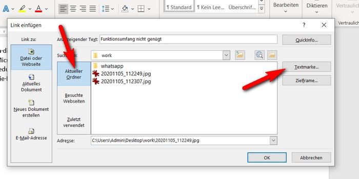 """Zum Einfügen eines Links auf eine Stelle in einem anderen Dokument wählen Sie die Schaltfläche """"Datei oder Webseite"""". Suchen Sie das gewünschte Dokument auf, indem Sie mit """"Suchen in"""" den Ordner des Dokuments öffnen und dann das Dokument einmal kurz anklicken. Seine Adresse wird dadurch in das Eingabefeld Adresse des Dialogs übertragen. Klicken Sie dann auf die rechts in dem Schaubild rot markierte Schaltfläche """"Textmarke"""", um die Stelle im Dokument anzugeben."""
