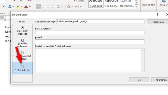 """Wenn Sie in Ihr Office Dokument einen Link einfügen möchten, der das Versenden einer E-Mail ermöglicht, dann wählen Sie die rot markierte Schaltfläche """"E-Mail-Adresse""""."""