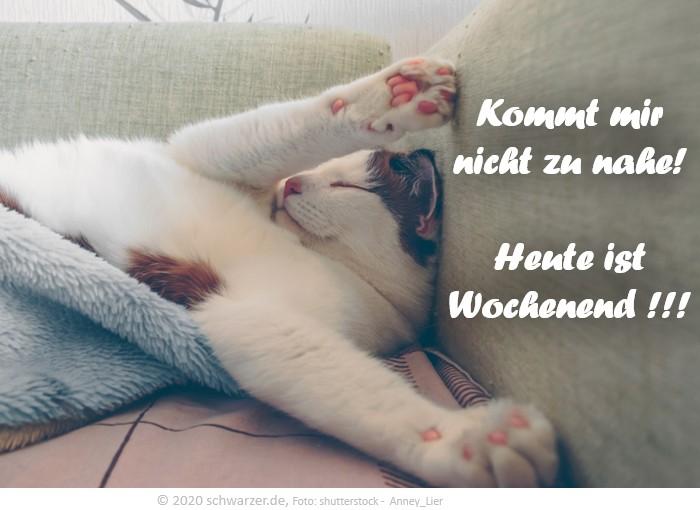 """Wochenend-Spruch: """"Kommt mir nicht zu nahe! Heute ist Wochenend !!!"""""""