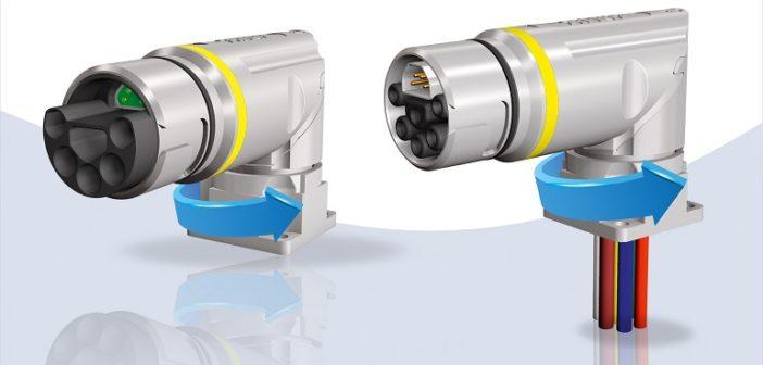 B23 Flansch: Hybridsteckverbinder gewickelt und drehbar (Foto: CONEC)